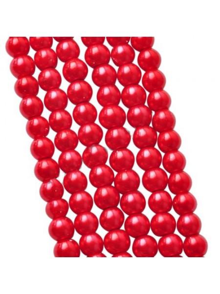 Бусины стекло, под жемчуг,цв-красный,10мм,цена за 1 шт