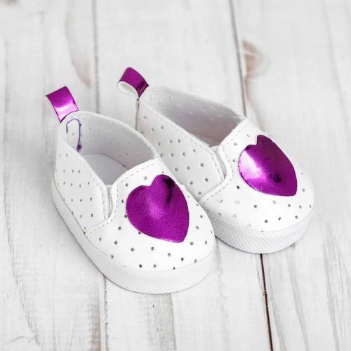Мокасины для куклы 'Сердечко', длина стопы 7 см, цвет фиолетовый