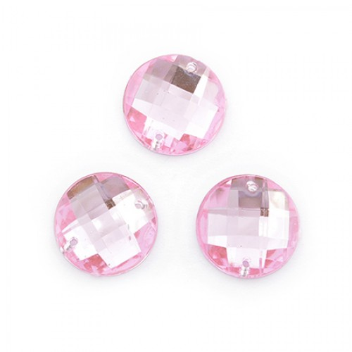 Стразы пришивные,круглые,акрил,10мм,розовые, цена за 1 шт