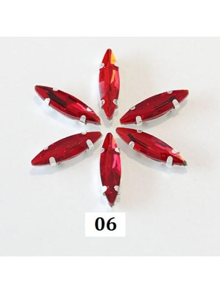 Пришивные стразы в серебрянных цапах ,стекло № 06,лодочка,4*15мм.цена за 1 шт