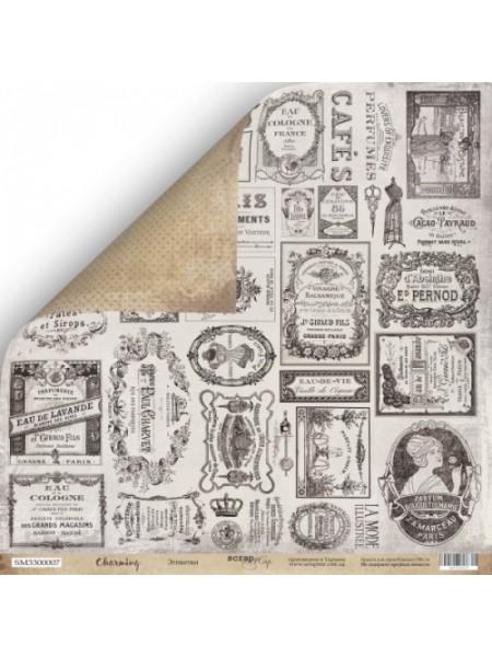 Лист двусторонней бумаги 30x30 от Scrapmir Этикетки из коллекции Charming (Очарование)