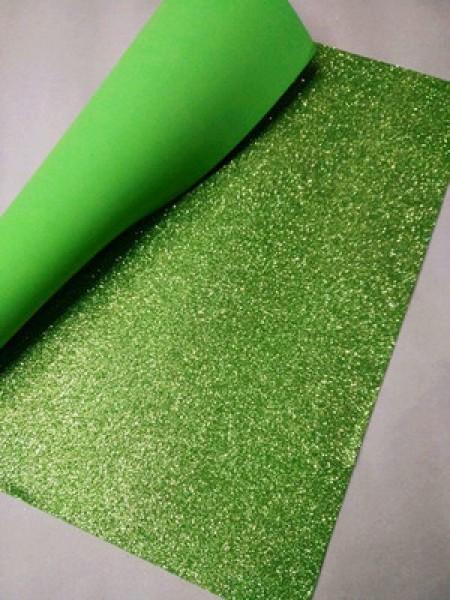 Глиттерный фоамиран, А4,цв-светло-зелёный
