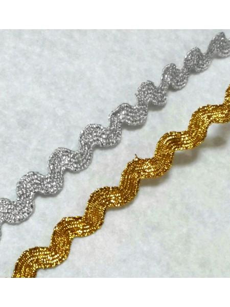 "Лента декоративная ""зиг-заг""-золото,5 мм -цена за 1 метр"