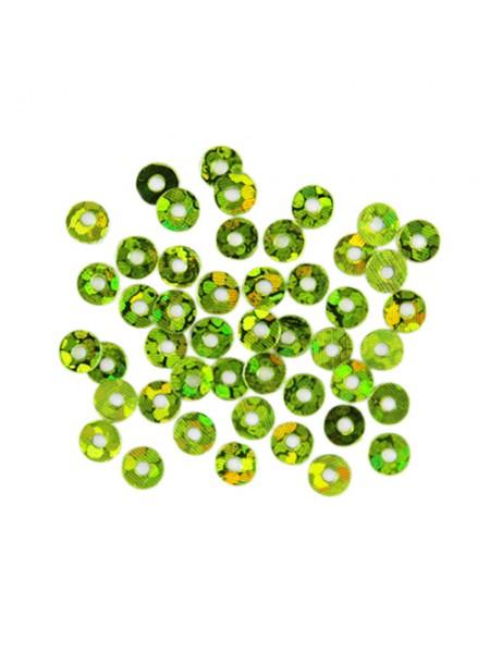 Пайетки плоские -3 мм,10гр,цв-св.-зелёный голограмма, А100-105