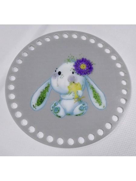 """Пластиковое донышко для корзины с рисунком,круглое,""""Зайка с цветком"""" D-10 см"""