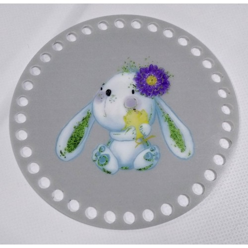 """Пластиковое донышко для корзины с рисунком,круглое,""""Зайка с цветком"""" D-12 см"""