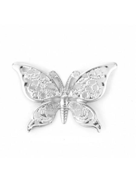 Декоративный элемент,бабочка филигрань,цв-серебро.40*26мм,цена за 1 шт