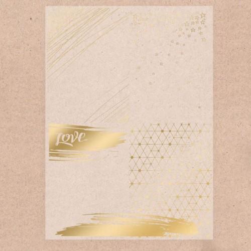 """Калька декоративная с тиснением золотом""""Love"""", 29,7х21 см,цена за 1 лист"""