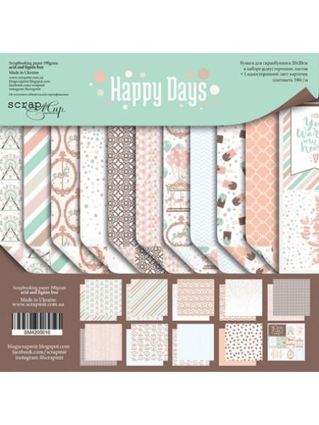Набор двусторонней бумаги 20х20см от Scrapmir-Happy Days