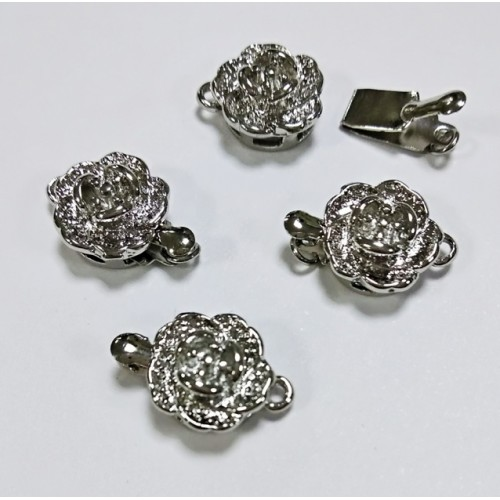 Замок для бус Цветочек(метал.сплав)цв- серебро,10 мм