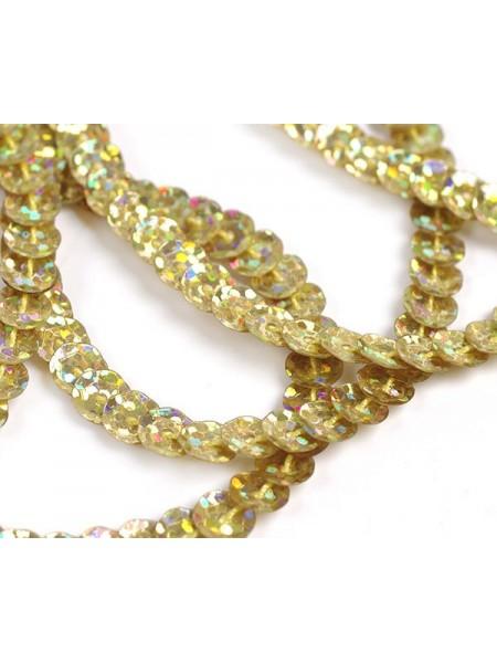 Пайетки на нити,цв-золото-голограмм,цена за 1 метр