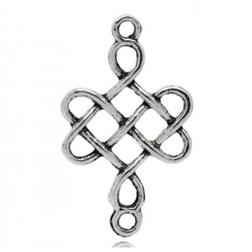 Коннектор Китайский узел, цв-серебро,цена за 1 шт
