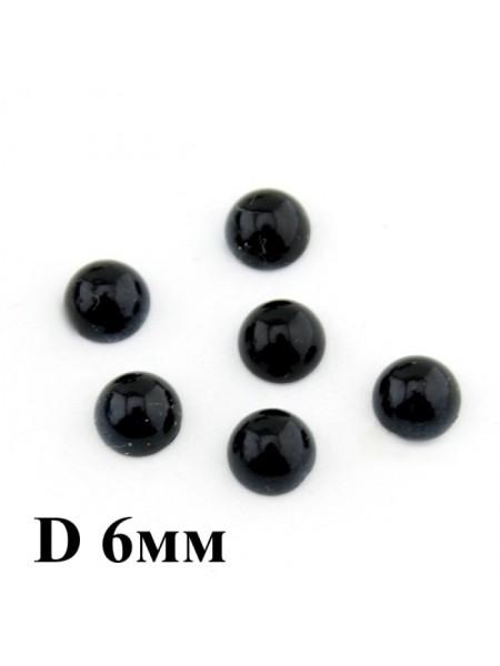 Глаза круглые ,клеевые,цв-черный,6 мм, цена за пару