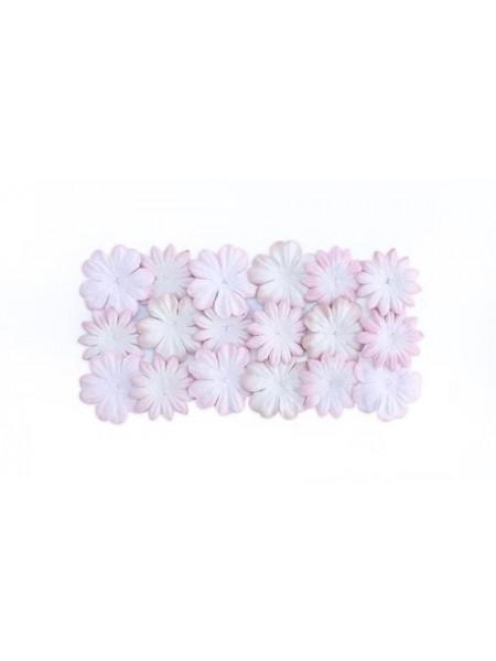 Набор цветков из шелковичной бумаги,бело-розовые, 2 вида,упак./20 шт.
