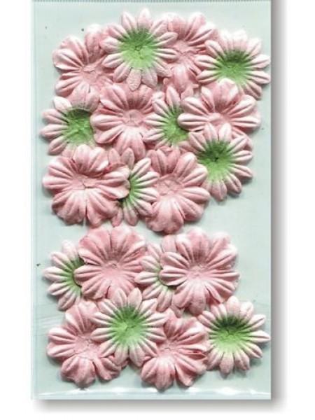 Набор цветков из шелковичной бумаги,персиковый/зеленый, 2 вида,упак./20 шт.