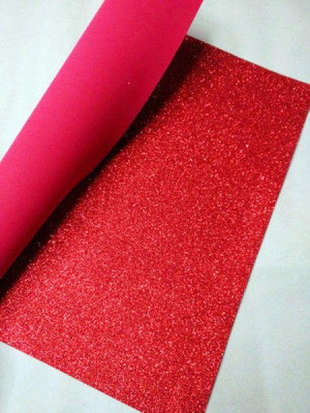 Глиттерный фоамиран, А4,цв-красный