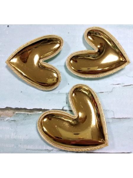 Декоративный элемент (патч)- сердце, золотой глянец