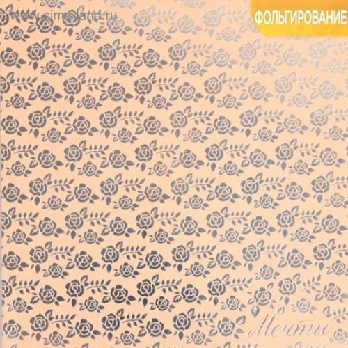 Бумага жемчужная с фольгированием серебром «Мечты», 20 х 20 см, цена за 1 лист