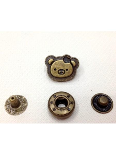 Кнопка Мишка.цв.бронза,12*15 мм,цена за 1 шт