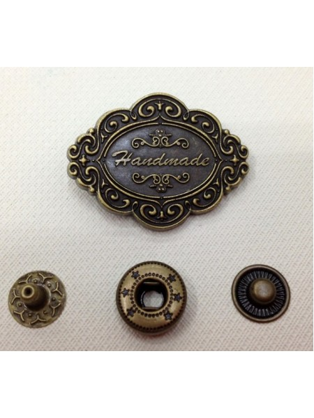 Кнопка Handmade.цв.бронза,33*25 мм,цена за 1 шт