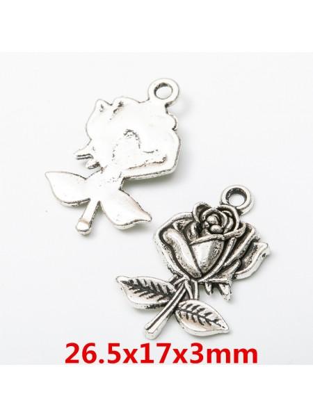 Подвеска роза,цвет серебро,26*17мм