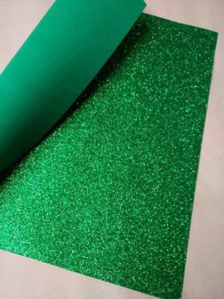 Глиттерный фоамиран, А4,цв-зелёный