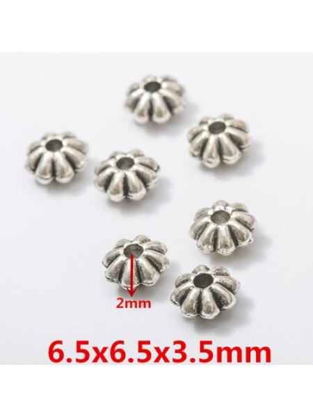 Бусина металлическая,6,5 мм,цв-античное серебро,цена за 1 шт