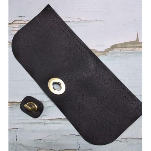 Клапан-крышка для сумочки с поворотным замком,цв-черный,20*10см