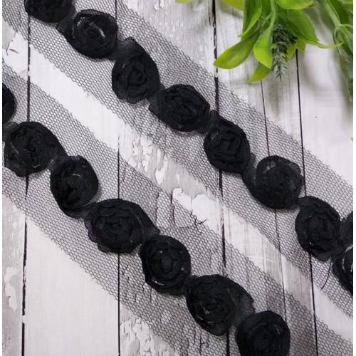 Шифоновые розы на сеточке-розы черные,(1 ряд),цена за 1 м