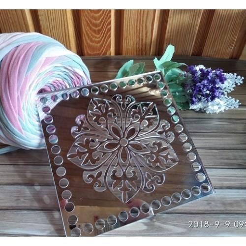 Зеркальное донышко(боковушка для сумки),Цветок,цв-серебро,квадрат,15 см