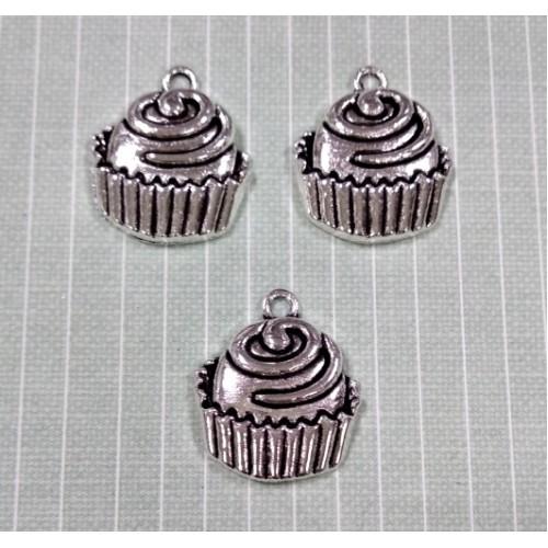 Подвеска- пироженое,цв-серебро, цена за 1 шт