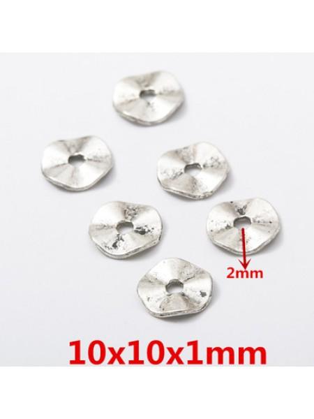 Бусина металлическая,10 мм,цв-античное серебро,цена за 1 шт