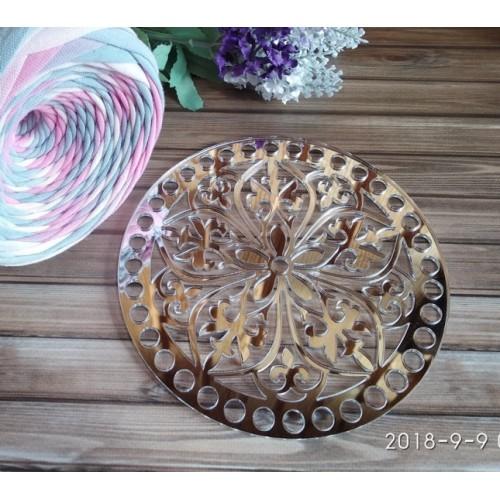 Зеркальное донышко(боковушка для сумки),Цветок,цв-серебро,круг,18 см