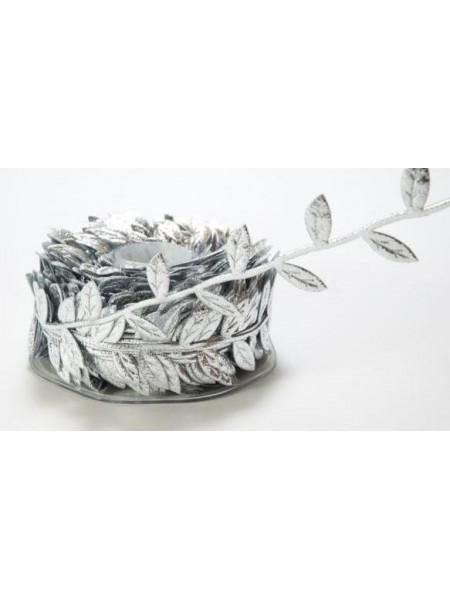 Тесьма декоративная( с листиками)серебрянная.односторонняя,цена за 1 метр