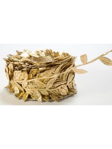 Тесьма декоративная( с листиками)золотая.односторонняя,цена за 1 метр
