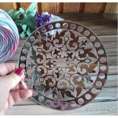 Зеркальное донышко(боковушка для сумки),Ажур,цв-серебро,круг,18см