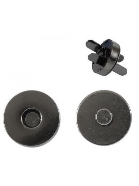 Кнопка магнитная на усиках,18мм.цв. черный никель