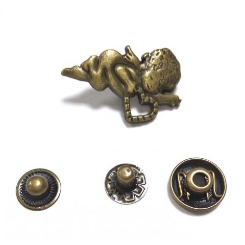 Кнопка Амур.цв.бронза,27*19 мм,цена за 1 шт