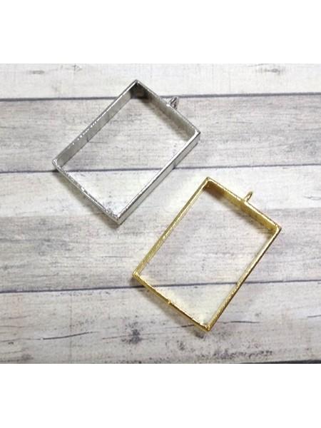 Фурнитура под заливку, прямоугольник, цв-золото,25*39мм