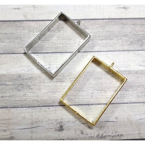 Фурнитура под заливку, прямоугольник, цв-серебро,25*39мм