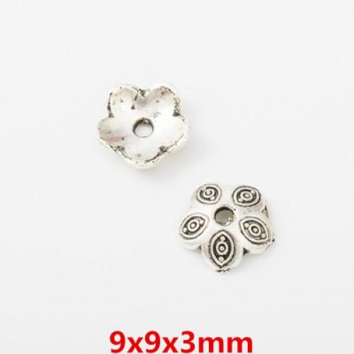 Шапочки для бусин,цв-античное серебро.9мм,цена  за 1 шт
