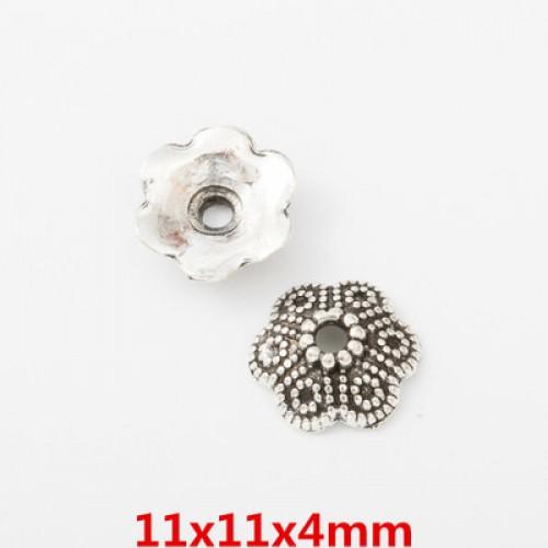 Шапочки для бусин,цв-античное серебро.11мм,цена  за 1 шт