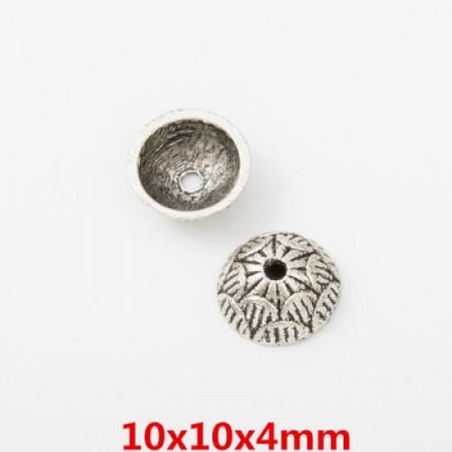 Шапочки для бусин,цв-античное серебро.10мм,цена  за 1 шт