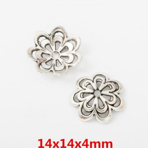 Шапочки для бусин,цв-античное серебро.14мм,цена  за 1 шт