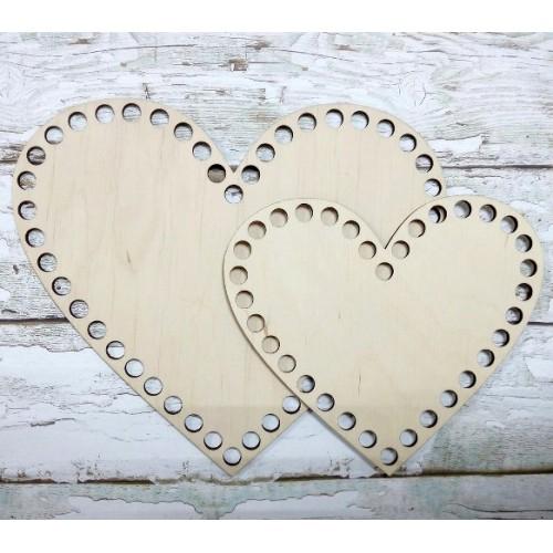 Деревянное донышко для корзин-Сердце,20см
