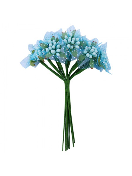 Букетик тычинок с фатином,мятно-голубые