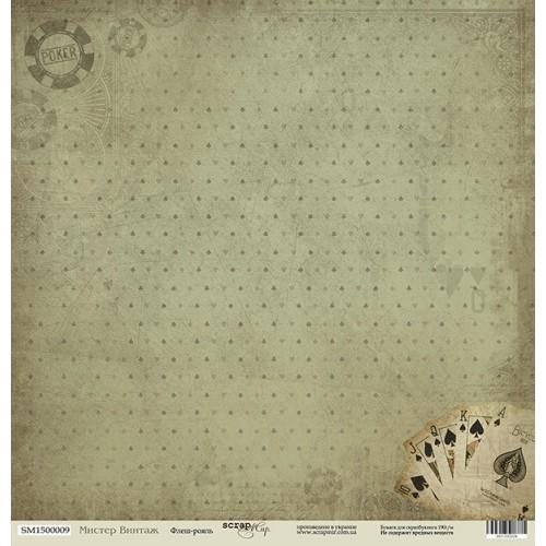 Лист односторонней бумаги 30x30 от Scrapmir Флеш-рояль из коллекции Мистер Винтаж