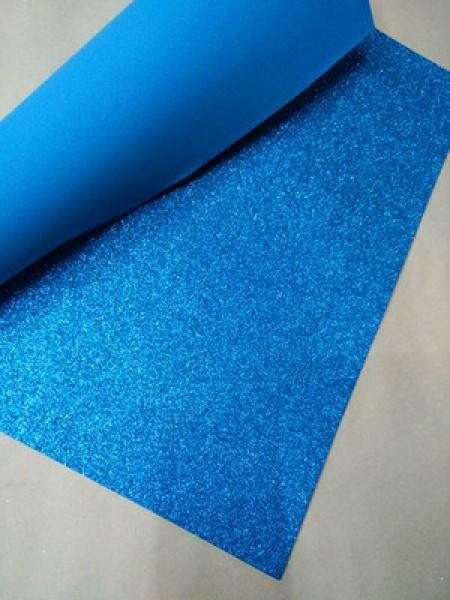 Глиттерный фоамиран, А4,цв-голубой