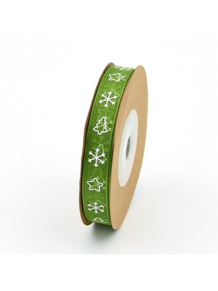 Лента органза-ёлочки,цв-зелёный, 10 мм,цена за 1 метр