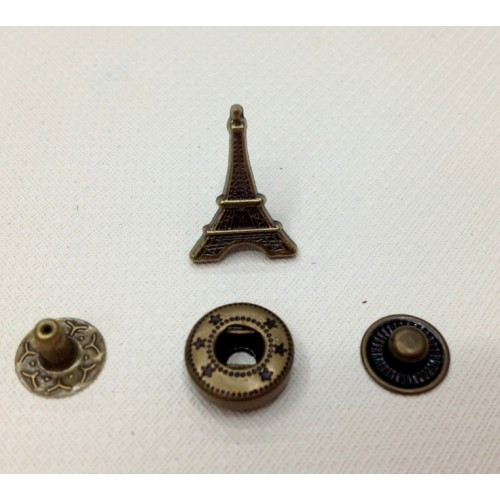 Кнопка Париж.цв.бронза,14*19 мм,цена за 1 шт